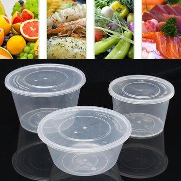 50ชิ้นชุบพลาสติกบรรจุอาหารฝาซุปเปอร์วุ้นเก็บภาชนะฝาปิด600/750/1000ml
