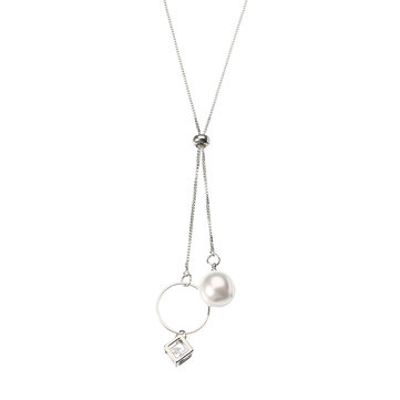 Elegant Pearl and Rhinestone Cube Hoop Pendant Silver Plated Tassel Long Necklace for Women