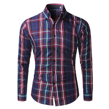 Mens Slim Fit Plaid Printing Casual Long Sleeve Checked Designer Shirt