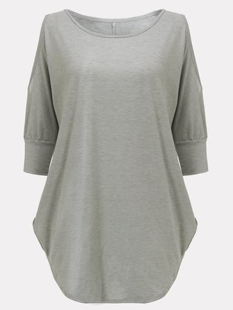 Off Shoulder O-Neck 3/4 Sleeve Curved Hem Loose Long T-Shirt For Female