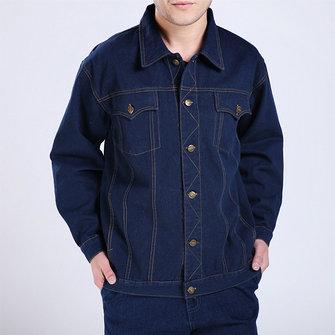 Cotone lavoro moda doppio petto tasche giacche cargo in denim per gli uomini