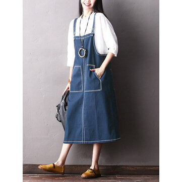 Plus Size Casual Loose Spaghetti Straps Denim Dress