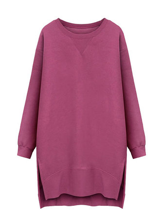 Casual Women Long Sleeve Straight Split Velvet Thicken Pullover Dress