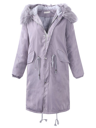 Casual Solid Fur Collar Pocket Thicken Long Sleeve Mid-long Hooded Coats