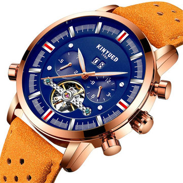 KINYUED JYD-J019 Blue Dial Case Calendar Automatic Mechanical Watch Leather Men Watches