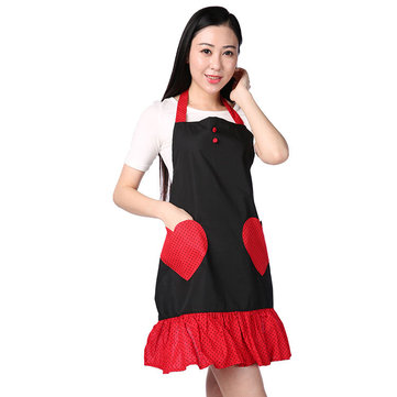 Hot Sale High Quality Cute Double Love Pocket Aprons Women Housewife Waiter Kitchen Cook New Tool Kitchen Waterproof Aprons