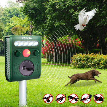 KCASA KC-JK369 Garden Ultrasonic PIR Sensor Solar Animal Repeller Strong Flashlight Bird Repel