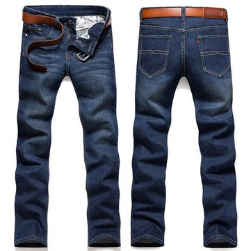 Mens Plus Size Fashion Casual Spring Summer Korean Version Jeans Straight Slim Denim Pants