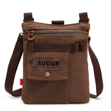 AUGUR Men Multifunctional Canvas Shoulder Crossbody Bag Genuine Lether Casual Messenger Bag