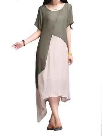 Elegant Women Contrast Color Stitching High Low Cotton Linen Dress