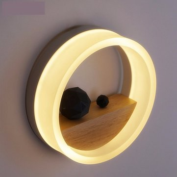 Modern Round Acrylic Wood Wall Light Sconce Bedroom Restaurant Bar Home Decoration