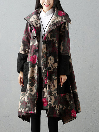 Vintage Women Printed Patchwork Pocket Velvet Long Sleeve Coat