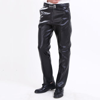 Men's Windproof Waterproof PU Leather Pants Casual Plus Cashmere Warm Motorcycle Pants