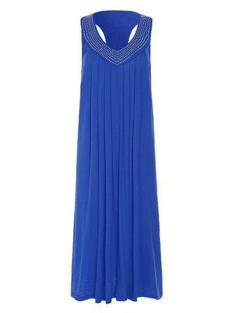 Sexy Women Rhinestone V-Neck Sleeveless Pleated Dresses