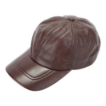 Mens Winter Windproof Cow Leather Baseball Cap Forward Hat