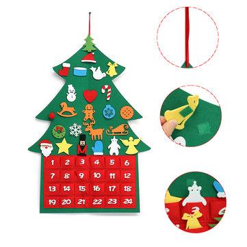 Christmas Tree Advent Calendar Felt Fabric Countdown Xmas Display Decor Ornament
