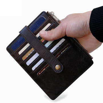Men Genuine Leather Passport Card Holder Slim Travel Wallet