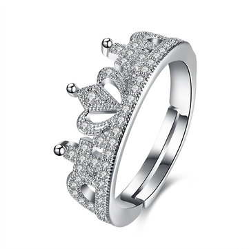 INALIS Elegant Zircon Platinum Plated Opening Gift Wedding Finger Rings