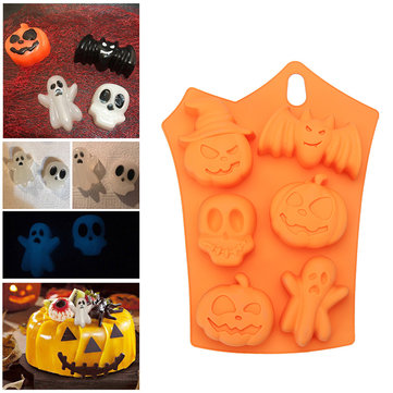 Pumpkin Bat Skull Design Silicone Halloween Fondant Chocolate Baking Cake Mold Baking Mold
