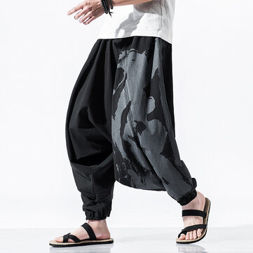 Mens Spring Summer Cotton Fashion Loose Comfy Printing Casual Cross Pants