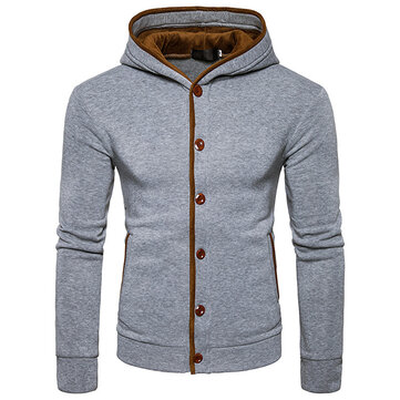 Mens Winter Fashion Casual Hoodies Button Design Floral Hooded Sweatshirt