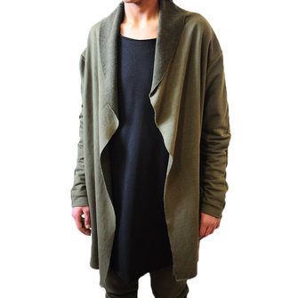 Mens Solid Color Long Hooded Cardigans