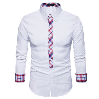 Mens Fashion Plaid Printing Splice Casual Designer Shirts
