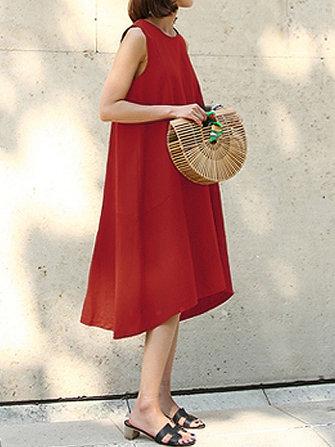 캐주얼 민소매 루스 솔리드 컬러 비대칭 드레스