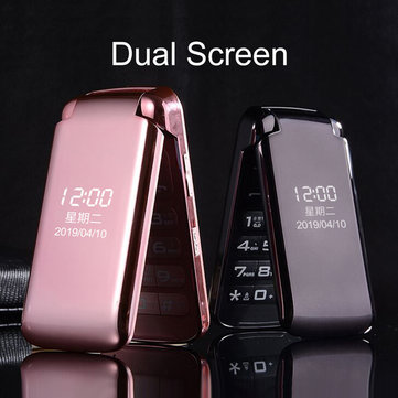 VAJITA GS55 2,8-дюймовый 3200mAh двойной Дисплей большой кнопочный фонарик Dual Sim двойной резервный флип функция телефона Розовый