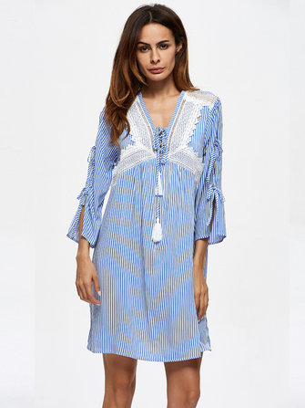 Stripe Print Bandage Sleeve V-neck Casual Women Mini Dresses