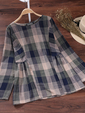 Plaid O-Neck Cotton Blouse