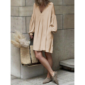 Women Long Sleeve V Neck Pure Color Dress