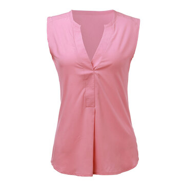 Elegant Women Deep V Neck Sleeveless Solid Shirt T-Shirt