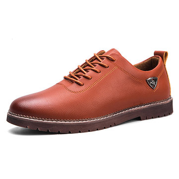 Casual Soft Genuine Leather Lace Up Oxfords for Men