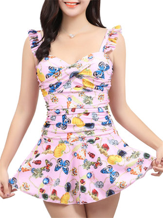 Flounces Front Criss-cross Ruffle Printed Push Up Flower Bathing Suits Swimdress