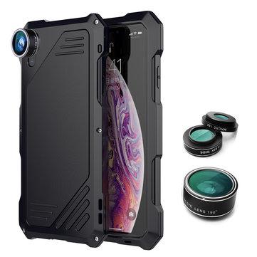 198° Fisheye Lens + 15X Macro Lens + Wide Angle Lens + IP54 Waterproof Shockproof Zinc Alloy Case For iPhone XS Max