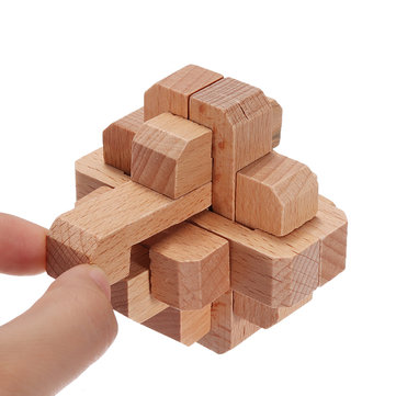New Design IQ Brain Teaser Beech Kong Ming Lock Wooden Interlocking Burr 3D Puzzles Game Toy Type 1