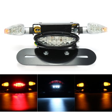 Motorcycle LED Rear Tail Brake Stop Turn Indicator Light with License Plate Bracket