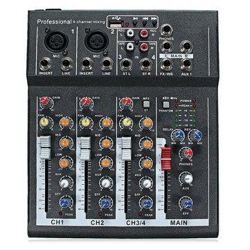 48V Professional 4-Channel Live Studio l'audio Sound Console de mixage USB Mixer
