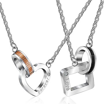 Romantic Stainless Steel Heart and Square Shape Love Forever Necklace for Men Women