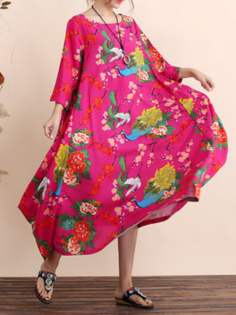 Floral Print Loose Half Sleeve Women Maxi Dress