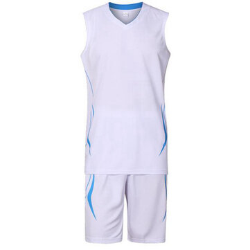 Mens Summer Basketball Game Breathable Quick Drying Sleeveless Team Sports Suit 6 Colors
