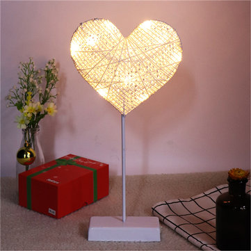 Battery Powered Rattan String Heart Night Light Warm White Table Decor for Bedroom Celebration Party