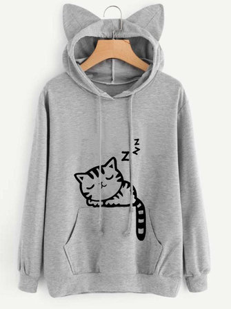 Casual Pure Color Cat Ears Hooded Cute Cat Pattern Printed Women Hoodies Sweatshirts