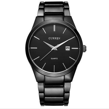 CURREN 8106 Fashion Black Stainless Steel Round Men Quartz Wrist Watch