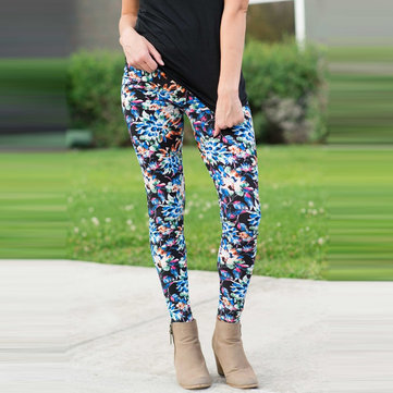 Women Ladies Slim Fit Floral Print High Waist Legging Camouflage Pencil Trousers