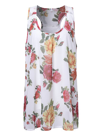 Sexy Women Random Floral Printed Sleeveless Scoop Neck Blouses