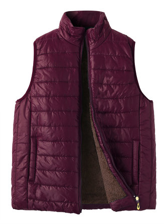 Casual Women Pure Color Thick Vest Coats