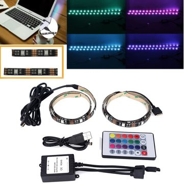 2 X 50CM SMD5050 LED Non-Waterproof USB RGB Strip Mood Changing Light Lamp TV Backlight Kit + Remote