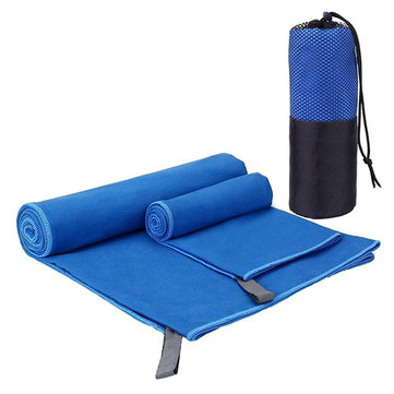 KCASA KC-TW168 Microfiber Towel Set 2 Pack Absorbent Quick Drying Antibacterial Beach Bath Towel Yoga Mat Towels With Mesh Bag For Swimming Travel Sports Camping